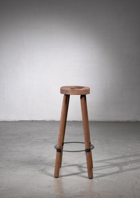 Bloomberry - High French Teak Stool with Metal Foot Ring