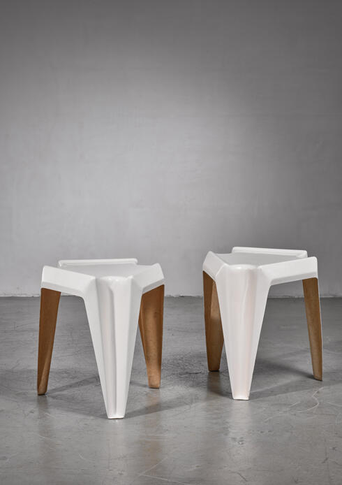 Bloomberry - Pair of Bofinger fiberglass side tables by Helmut Bätzner