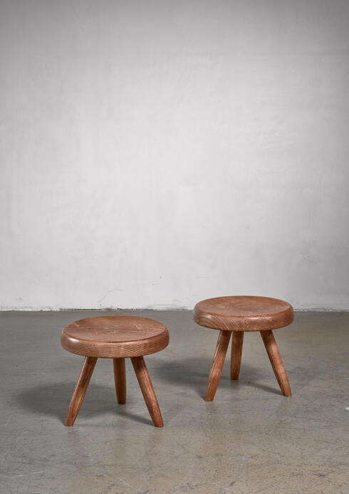 Bloomberry - Charlotte Perriand pair of low stools, France