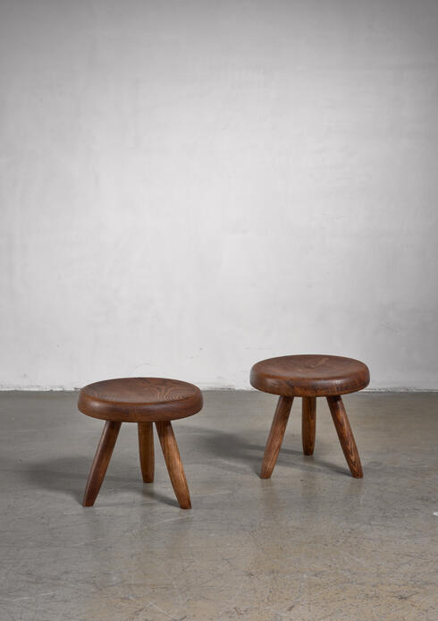 Bloomberry - Charlotte Perriand pair of low tripod stools