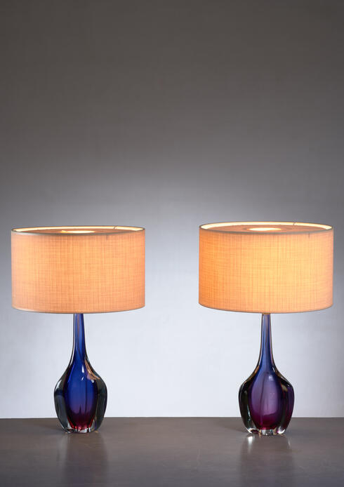 Bloomberry - Pair of purple and blue Arte Nuova Murano glass table lamps