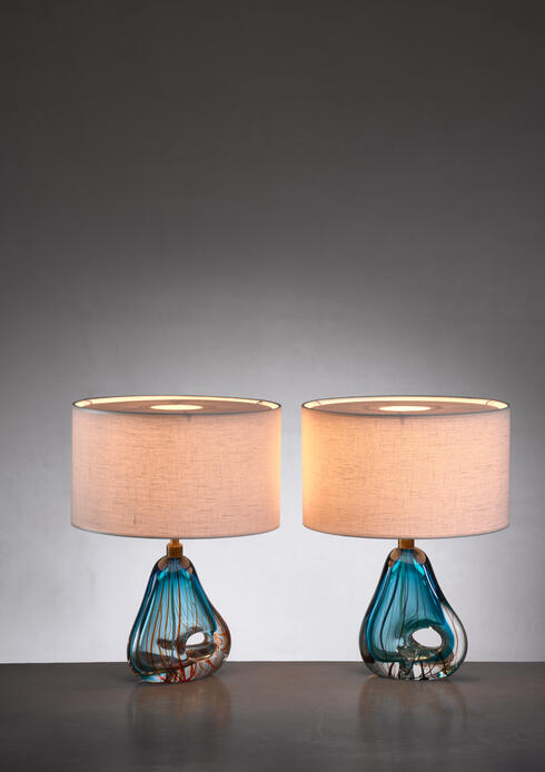 Bloomberry - Pair of blue Murano glass table lamps