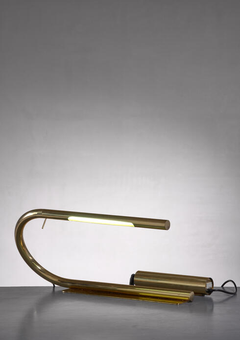 Bloomberry - Brass tube desk lamp by Cheret