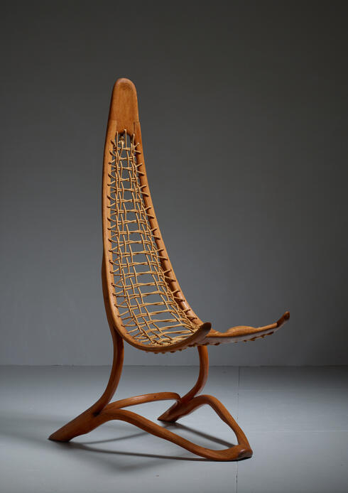 Bloomberry - Unique Tall (161 cm / 63.4 inch) Oak and Rope American Studio Craft Chair, 1960s