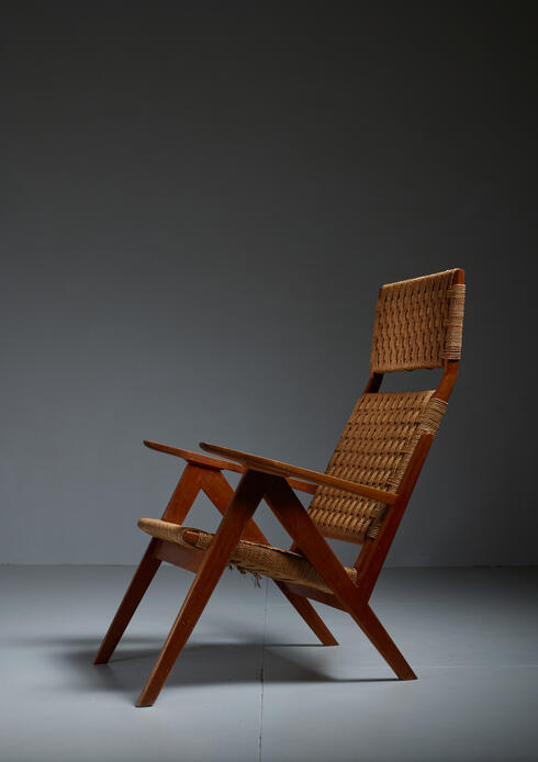 Bloomberry - Georg Jensen High Back Mahogany and Rope Lounge Chair, 1967s