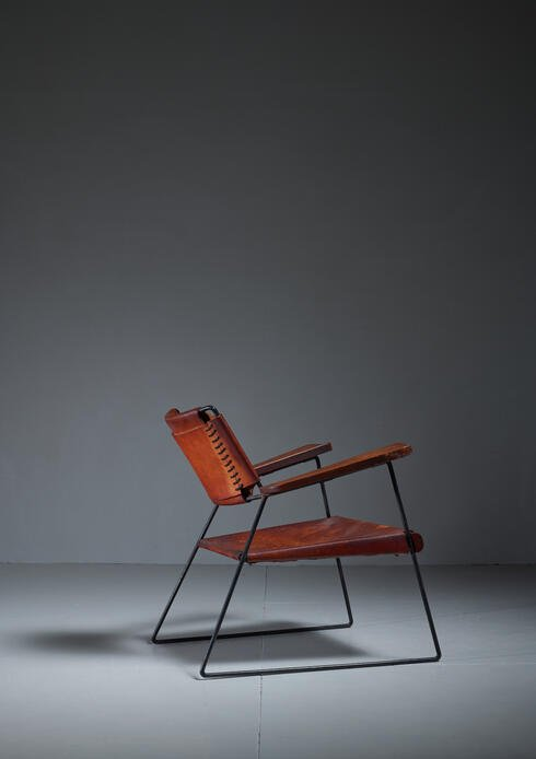 Bloomberry - Rare Sam Resnick Chair with Heavy Saddle Leather, American, 1960s