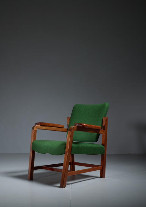 Bloomberry - Flemming Teisen Mahogany Chair with Leather Armrests, Denmark, 1939