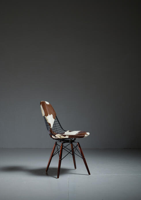 Bloomberry - Eames DKW Wire Chair with Unique Cowskin Bikini Seat on Dowel Feet, USA, 1950