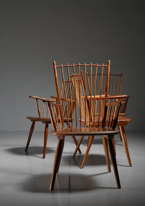 Bloomberry - Albert Haberer set of four Arts and Crafts chairs, Germany, 1950