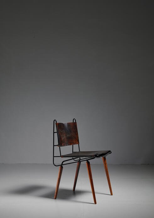 Bloomberry - Allan Gould leather, iron and wood chair, USA, 1950s
