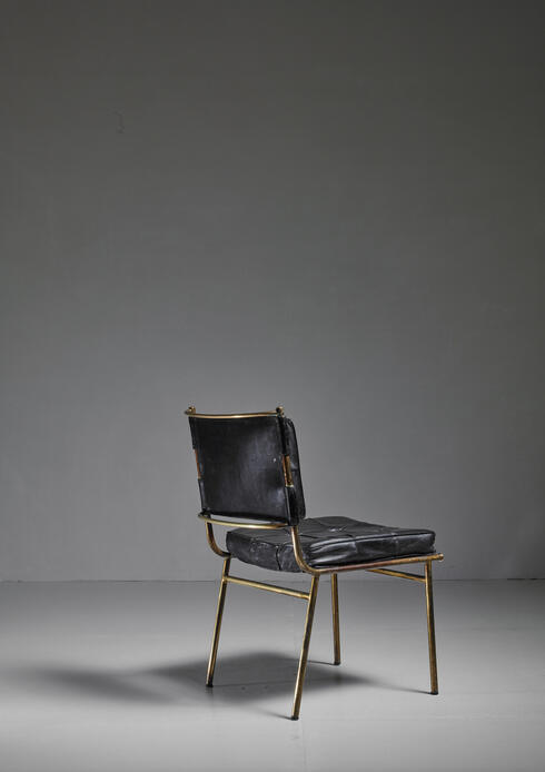 Bloomberry - Mathieu Matégot Rare Chair with Brass Frame and Leather Cushions, France