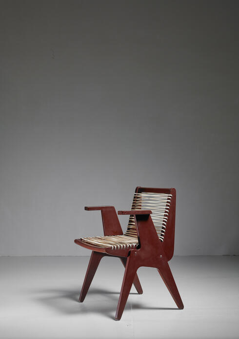 Bloomberry - Klaus Grabe Attributed Plywood with Woven Cord Chair, US, 1940s