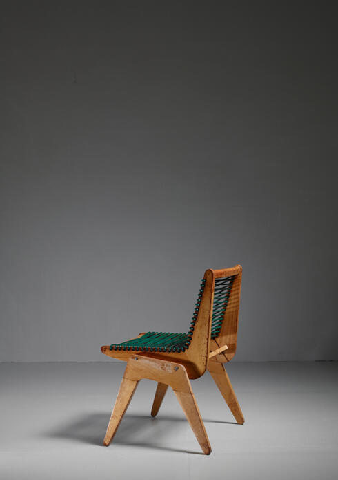 Bloomberry - Robert Kayton and Associates Plywood with Woven Cord Chair, US, 1940s