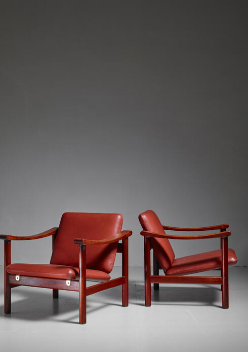 Bloomberry - Hans Wegner Pair of Lounge Chairs for GETAMA, Denmark, 1950s