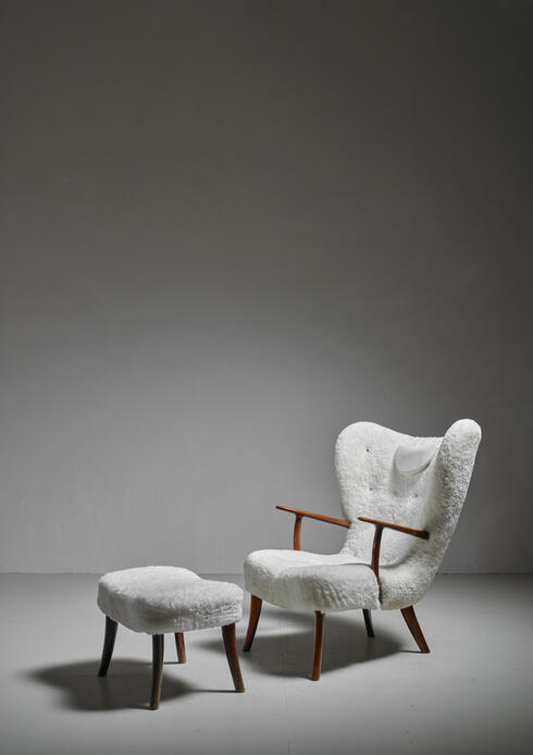 Bloomberry - Madsen and Schübel 'Prag' Lounge Chair with Ottoman, Denmark, 1950s