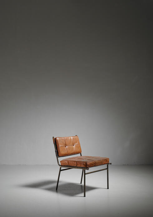 Bloomberry - Rare Mathieu Matégot Chair with Brass Frame and Leather Seat and Back, 1950s