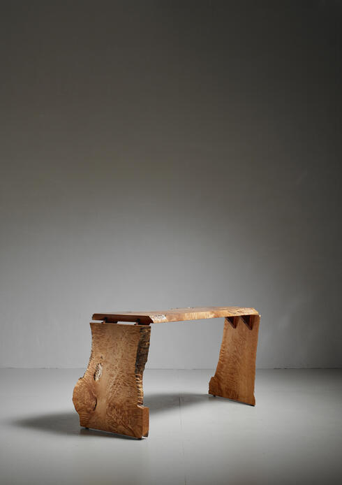 Bloomberry - Michael Elkan Studio Crafted Maple Burl Console Table or desk, USA, 1980s