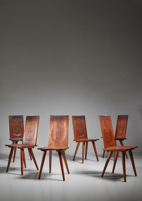 Bloomberry - Jean Touret Set of Six Oak Dining Chairs for Marolles, France, 1950s
