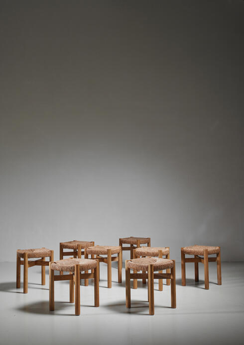 Bloomberry - Charlotte Perriand Set of Eight Oak and Rush Méribel Stools, France, circa 1950