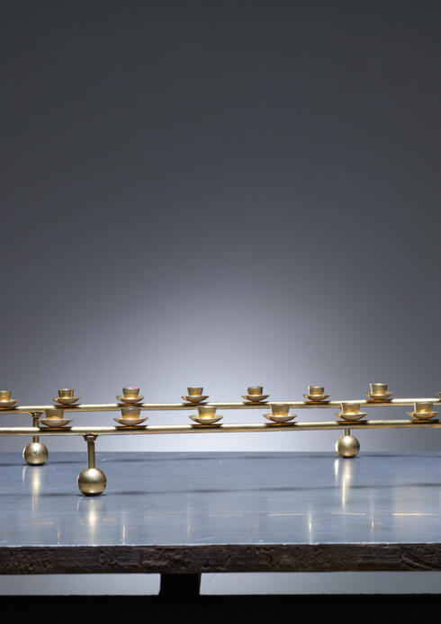 Bloomberry - Large Brass Oval Candelabra for 24 Candles, Denmark, 1950s