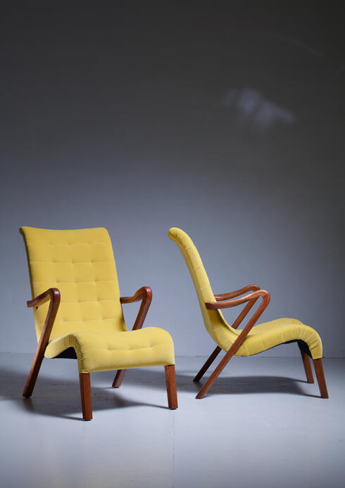 Bloomberry - Axel Larsson Pair of Lounge Chairs, Sweden, 1940s