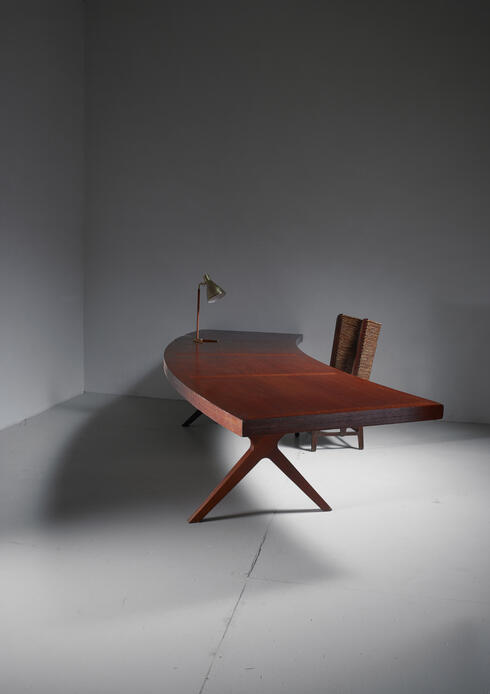 Bloomberry - L.E Brevilly Extremely Large Boomerang Shaped Desk, France, circa 1965