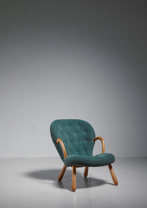 Bloomberry - Philip Arctander Clam Chair with Green Upholstery, Denmark, 1940s