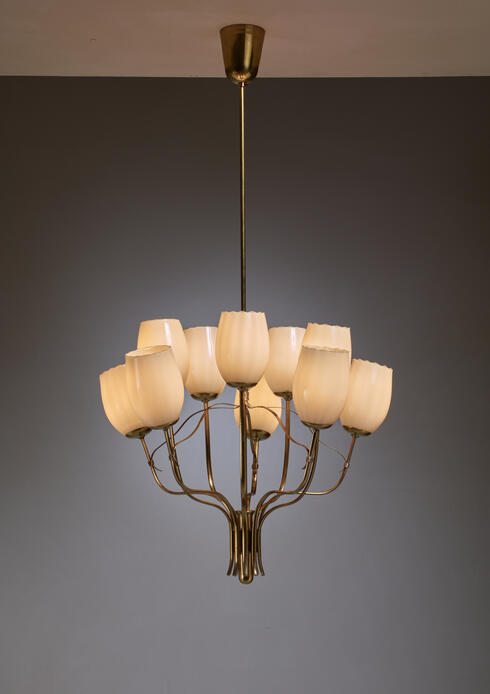 Bloomberry - Paavo Tynell Chandelier for Sokos Helsinki House, Taito, Finland, 1950s