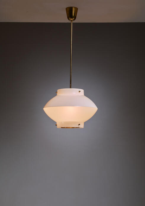 Bloomberry - Yki Nummi One of Three White Plexiglass and Brass Pendants for Orno, Finland
