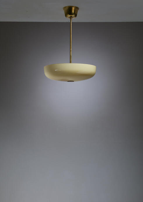 Bloomberry - Paavo Tynell Opaline Glass and Brass Pendant for Taito, Finland, 1940s
