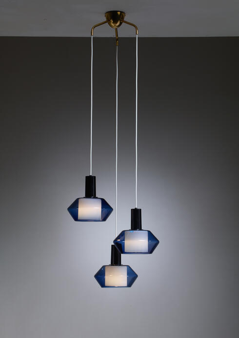 Bloomberry - Blue K2-140 Pendants by Tapio Wirkkala for Iittala, Finland, Large Quantity