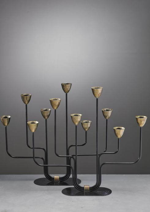 Bloomberry - Gunnar Ander Pair of Candelabras for Ystad Metall, Sweden, 1960s