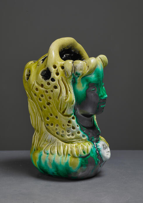 Bloomberry - Sculptural Ceramic Vase of a Madonna, France, 1960s