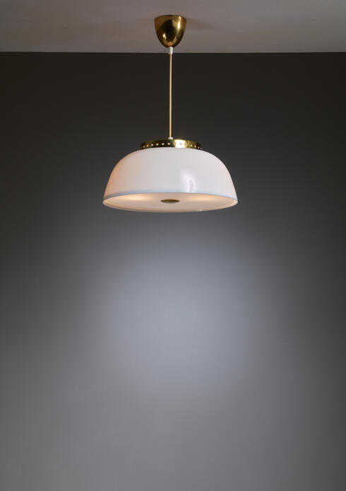 Bloomberry - Lisa Johansson-Pape White Acrylic and Brass Pendant for Orno, Finland