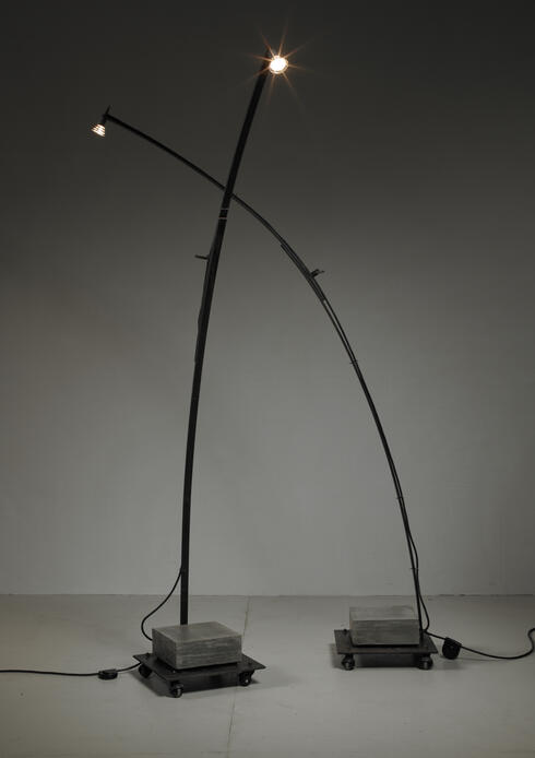 Bloomberry - Pair of Typical 1980s Industrial Metal Floor Lamps, Germany