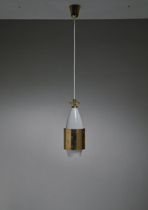 Bloomberry - Paavo Tynell K2-12 Opaline Glass and Brass Pendant for Idman, Finland, 1950s