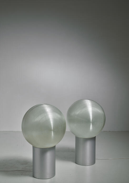 Bloomberry - Hilde Roth Pair of Floor Lamps with Plastic Globe Diffuser, Germany, 1970s