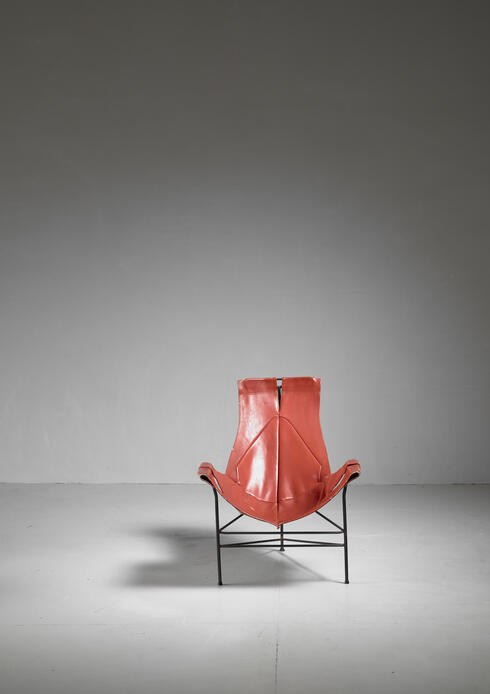 Bloomberry - Leathercrafter Sling Chair in Brown Leather on Tri-Leg Base, USA, 1960s