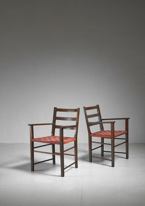 Bloomberry - Axel Larsson Pair of Webbed Armchairs for Gemla, Sweden, 1930s
