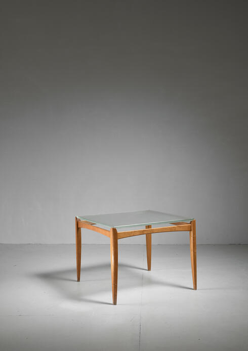 Bloomberry - Axel Larsson Table with Glass Top, Bodafors, Sweden, 1930s