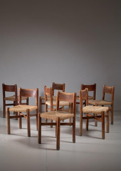Bloomberry - Charlotte Perriand set of 8 oak Courchevel dining chairs, France, 1940s