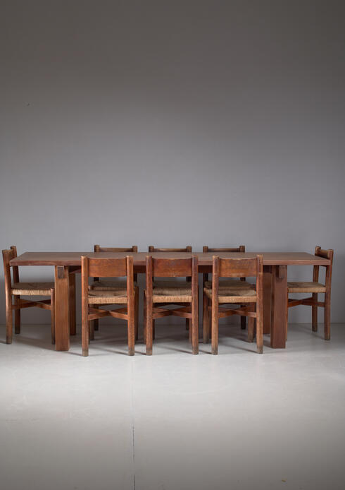Bloomberry - Charlotte Perriand Brazil Table with a Set of Eight Courchevel Chairs, France