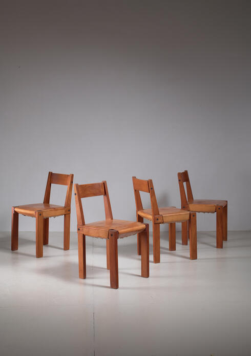 Bloomberry - Pierre Chapo Set of Four Elm and Leather Dining Chairs, France, 1960s