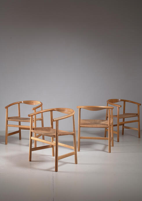 Bloomberry - Hans Wegner Set of Four Beech and Papercord PP201 Armchairs, Denmark, 1960s