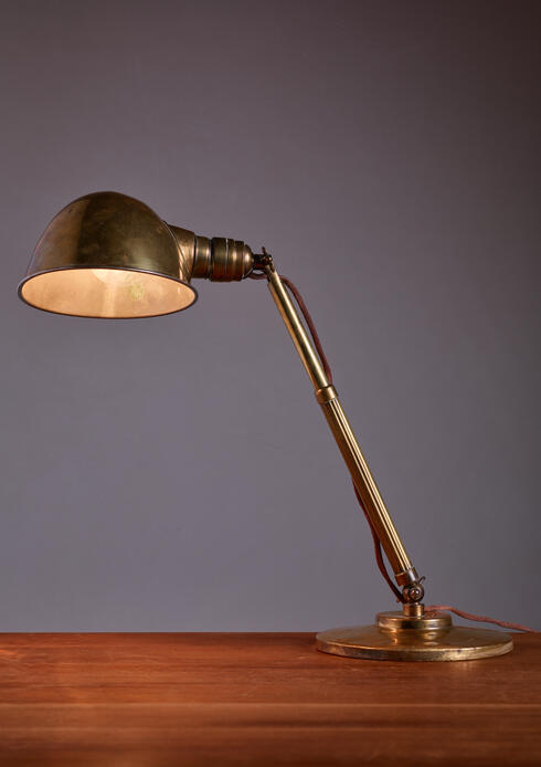 Bloomberry - Hala Brass Table Lamp with Telescope Arm, Netherlands, 1930s