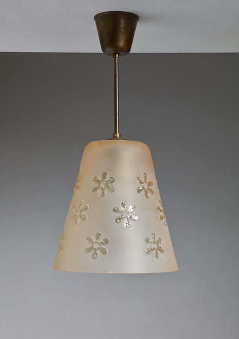 Bloomberry - Frosted Glass Pendant with Flower Motif, Sweden, 1930s