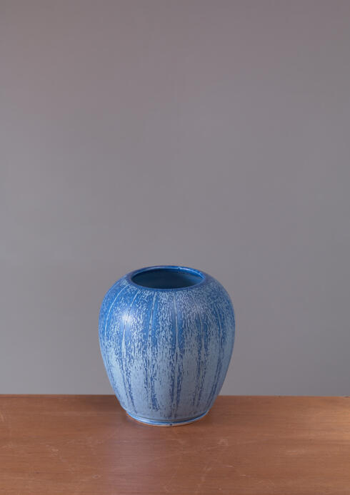 Bloomberry - Eva Jancke-Bjork for Bo Fajans Blue Ceramic Vase, Sweden, 1940s