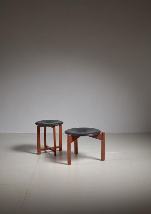 Bloomberry - Pair of Osten & Uno Kristiansson Stools for Luxus, Sweden, 1960s