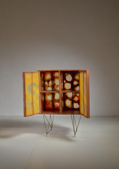 Bloomberry - Gene Caples Wood and Painted Fiber Cabinet, USA, 1960s