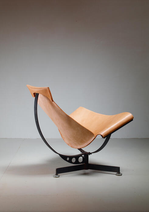 Bloomberry -  Max Gottschalk leather sling lounge chair, USA, 1960s
